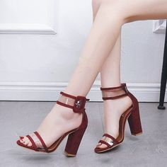Hot heeled heels shoes with ankle strap for ladies Red Block Heel Sandals, Ankle Strap Sandals, Block Heels, High Heels, Shoes Heels, Pumps, Red High, Dark Red, Fashion Boutique