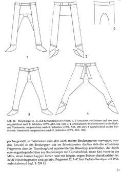 Thorsberg trousers.  scan of page 32 of Die Textilfunde aus dem Hafen von Haithabu.