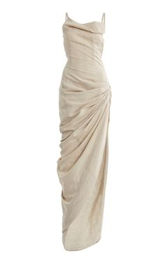 Jacquemus Saudade Draped Cotton-linen Maxi Dress In Neutral Pretty Dresses, Beautiful Dresses, Evening Dresses, Prom Dresses, Smocked Dresses, 1950s Dresses, Chiffon Dresses, Pageant Gowns, Winter Dresses