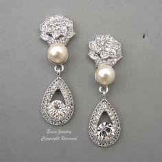 Vintage Style WEdding Earrings, Pearl and Rhienstone Bridal Earrings, Rhinestone  Cream Ivory Pearls Art Deco Silver Wedding Jewelry