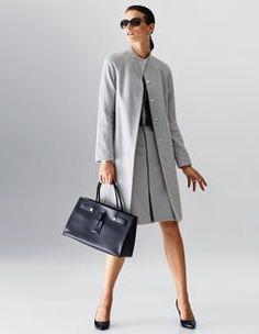Skirt, Sunglasses, Necklace, Handbag, Slingback heels, Coat