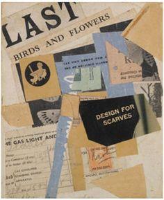 Kurt Schwitters, C50 letzte Vögel und Blumen (1946), collage on paper laid on card, 17.1 cm.x 14.2 cm