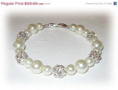 ON SALE 15% OFF Pearl Bridesmaids Bracelet Bridesmaid Jewelry Swarovski Rhinestones Ivory White Pearls Silver on Etsy, £10.53