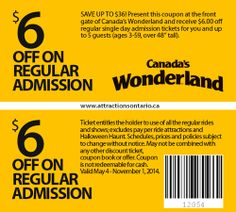 Attractions Ontario - Your all-in-one Ontario Tourism site! Ontario Attractions, Admission Ticket, Singles Day, Coupons, Tourism, Wonderland, Canada, Real Estate, Real Estates