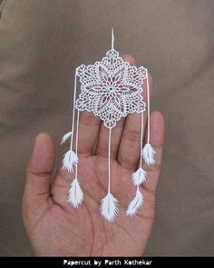 Shipping Free - Papercut - Crochet Dreamcatcher - wall hanging - white feathers…