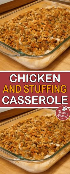 CHICKEN AND STUFFING CASSEROLE! One of my family's most favorite casseroles in this Chicken and Stuffing Casserole. Because it is SO flavorful, simple to make, and most of the ingredie… Yummy Recipes, Gourmet Recipes, Cooking Recipes, Yummy Food, Healthy Recipes, Dinner Recipes, Chicken Stuffing Casserole, Stuffing Recipes, Casserole Recipes