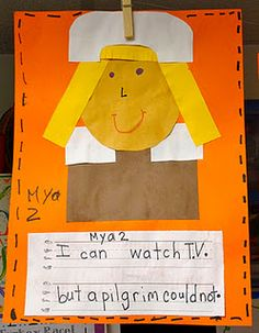 Comparing the Pilgrims' lives to our own modern lives: I have _____, but the Pilgrims _____. Comparing the Pilgrims' lives to our own modern lives: Kindergarten Units, Kindergarten Social Studies, Kindergarten Projects, Holiday Activities, Writing Activities, Writing Ideas, Holiday Crafts, Thanksgiving Preschool, Thanksgiving Ideas