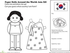 First Grade Geography Paper Dolls Community & Cultures Worksheets: Paper Dolls Around the World: Korea