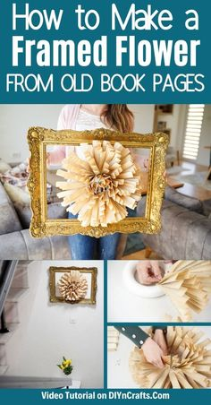 Create this stunning book page paper flower wall art with a few craft supplies! An ornate wreath frames a paper fan flower that is beautiful on any wall! This is a great 30-minute craft project that is ideal for home decor on a budget! #OldBookPageCraft #WallArt #DIY #BudgetDecor #HomeDecor Paper Flower Wreaths, Paper Flower Wall, Paper Flowers, Paper Vase, Diy Paper, Paper Crafts, Book Page Wreath, Book Page Crafts, Old Book Pages