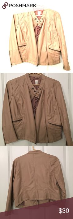 Nude biker jacket. EUC cropped pleather jacket with zippers in front and on sleeves. 2 button snaps at top and zips up. Very versatile for work or night out. Year round purchase. Excellent condition. Like BRAND new. Jackets & Coats