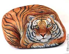Great detail on this painted rock.