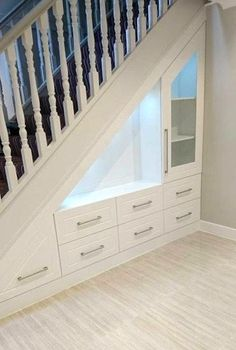 If you are looking for home storage ideas and good exploit for small spaces this article is for you and will give you 20 idea under stairs storage ideas with modern forms useful and practical. Shelves and storage spaces under . Space Under Stairs, Under Stairs Cupboard, Under Staircase Ideas, Open Staircase, Under The Stairs, Staircase Storage, Staircase Design, Under Stair Storage, Extra Storage