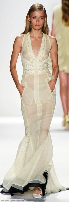 Okay. I would consider this a pieced guide to making a dress. Love the base contrast.|J. Mendel | S/S 2014