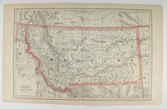 Antique Montana Map Wyoming 1886 Vintage Map Montana, Idaho Map, Western Decor, Montana Gift for Guy, Wyoming Gift for Couple, WY Map MT ID available from OldMapsandPrints.Etsy.com #Montana #Wyoming #Idaho #WesternUSStatemap #OriginalAntique1886Map