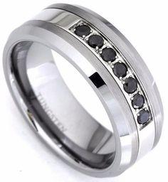 Overstockcom Tungsten Carbide Mens Gray Carbon Fiber