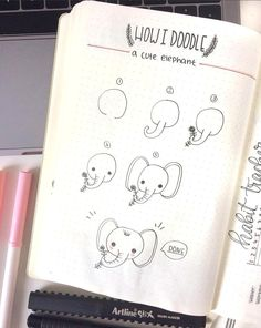 Adorable elephant doodle and lots more inspiring drawings that anyone can make! Cute doodles for your Bujo planner.