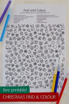 Free Christmas find and color sheet. Fun early finisher or snowy day activity for kids! Free Christmas find and color sheet. Fun early finisher or snowy day activity for kids! Christmas Crafts For Kids, Xmas Crafts, Christmas Colors, Christmas Art, Winter Christmas, Kids Christmas Activities, Christmas Nativity, Christmas Cookies, Theme Noel