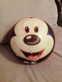Bowling ball. Made in USA Bowling Ball Art, Bowling Pins, Golf Ball, Yard Ideas, Balls, Mickey Mouse, Gardens, Collection, Decor