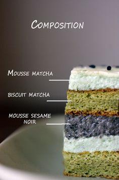 The Wandering Girl: Entremet au thé Matcha et Sésame noir. Site Francophone avec de délicieuses recettes incluant le Matcha. Recette du genre pas à pas, facile à exécuter, originale et délicieuse. Ce dessert est une valeur ajoutée pour votre évènement spécial. Bon succès!