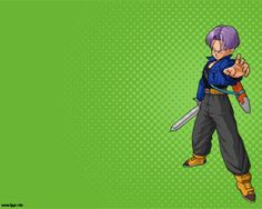 Trunks PowerPoint Template from Dragon Ball Z PPT over green background color