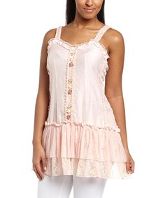 Look at this Peach Flower Embellished Silk-Blend Tunic - Women on #zulily today!