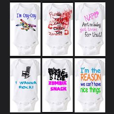 Our 6 newest #onesies available at LittleFroggySurfShop.etsy.com Fonts can be changes to any color you choose!  Available in size Preemie - 4T!