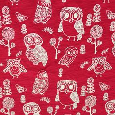 Forest Owls on Red Cotton Jersey Knit Fabric
