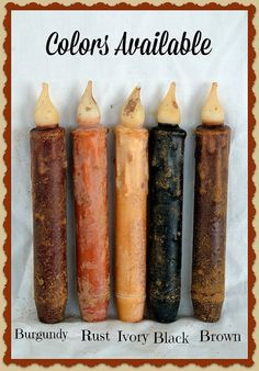 "LED Taper Candles, Battery Operated Timered Candles, Grungy Primitive LED Lighting, 7"" Flicker Candlesticks, Hand Dipped"