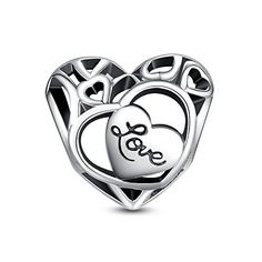 Glamulet 925 Sterling Silver Love Heart Openwork Charm Fits Pandora Chamilia Glamulet
