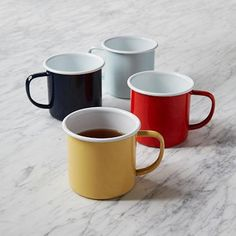 Colored Enamel Mugs #westelm fun and cheerful camping gear #CrowCanyonHome