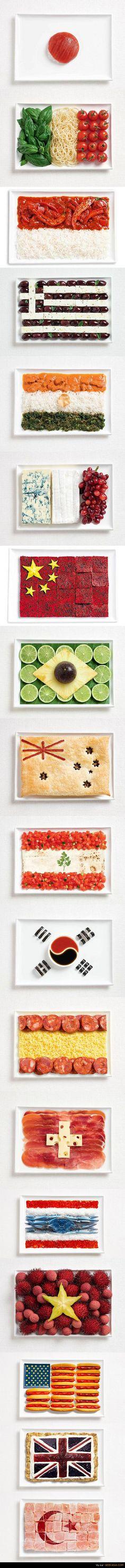 19 drapeaux réalisés avec de la nourriture I love it