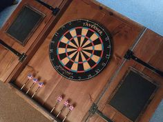 Rustic Dart Board Cabinet with Custom by RetroWorksStudio on Etsy