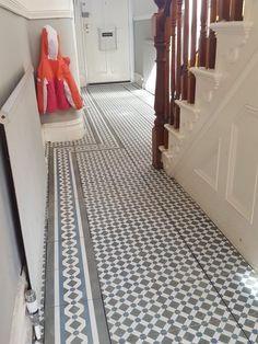 Topps Tiles Henley Cool laid in the hall with gray grout and underfloor heating. This has completely transformed the space! Grey Hallway, Hallway Paint, Tiled Hallway, Entry Hallway, Entrance Hall, Foyer, Victorian Hallway, Victorian Tiles, Hall Flooring