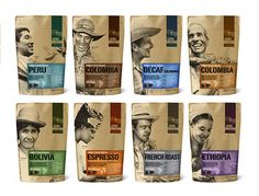 packaging by Level Ground, a fair trade coffee company. The packaging celebrates the coffee farmers and shows the 'producer is the real hero'. Sugar Packaging, Kraft Packaging, Cool Packaging, Food Packaging Design, Chocolate Packaging, Packaging Design Inspiration, Paper Packaging, Bottle Packaging, Coffee Branding