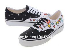 Zapatillas de deporte pintadas a mano del cordón negro para las mujeres/los zapatos de lona pintados a mano