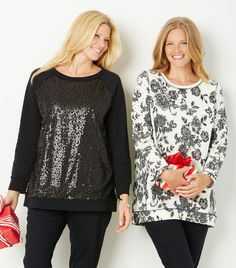 Celebrate the season in shimmering sweatshirts.  Plus Size Fashion from Woman Within.
