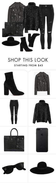 """""""19"""" by inlovewithtay ❤ liked on Polyvore featuring Valentino, Zara, River Island, Yves Saint Laurent, Ray-Ban, Maison Michel, black, iphone, grey and yvessaintlaurent"""