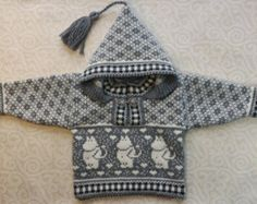 Trendy winter cardigan for children with moomin by LanaNere