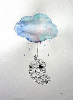 Ann-Kathrin Nikolov: Rainy Day. Aquarellfarbe und Tusche auf Aquarellpapier #Aquarell #Malerei #startyourart www.startyourart.de