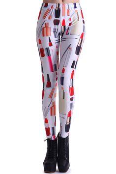 ROMWE   ROMWE Neat Lipstick Print White Leggings, The Latest Street Fashion #ROMWEROCOCO.