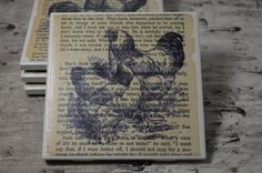 Vintage Farmhouse Chicken Coaster Set (4) | Vintage Chickens | Book Page Art | Drink Coaster | Housewarming Gift | Mother's Day Gift |