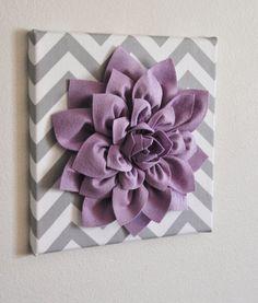 TWO Wall Flowers -Lilac Rose on Gray and White Tarika Print 12 x12 Canvas Wall Art- Baby Nursery Wall Decor-. $66.00, via
