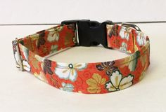 Metallic Cherry Bloom Adjustable Dog Collar - Made to Order - by JinsK9Kreations on Etsy