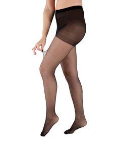 Black Three-Pair Control Top Pantyhose - Plus Too