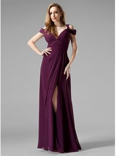 A-Line/Princess V-neck Sweep Train Chiffon  Charmeuse Bridesmaid Dresses With Ruffle (007004309)