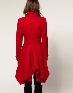 ASOS | ASOS Fit And Flare Coat With Frill Back at ASOS