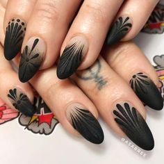 50 dramatic black acrylic nail designs to keep your style in point - Nails - Nageldesign Natur Black Coffin Nails, Matte Black Nails, Black Acrylic Nails, Black Nail Art, Stiletto Nails, Black Nail Tips, Black Ombre Nails, Black Nail Designs, Winter Nail Designs