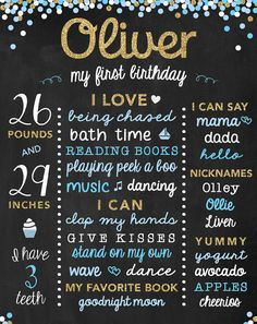 Boy First Birthday Poster Baby Birthday Sign by ChalkType