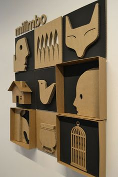 cardboard. Inspiration for simple clay relief using symbols.