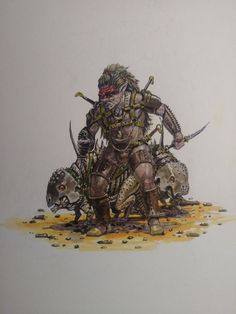 "M. Hilker on Twitter: ""#darksun halfling with two pet boneclaws. #dnd #cannibalistic #fantasy #watercolor… """